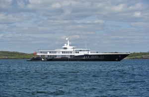 Air at anchor in West Cork, the luxury superyacht is reportedly on charter with George Clooney