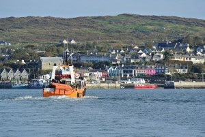 Cape Clear ferry approaching the piers in beautiful fishing village of Baltimore